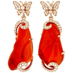 Yael Designs Fire Opal Diamond and Rose Gold Statement Earrings