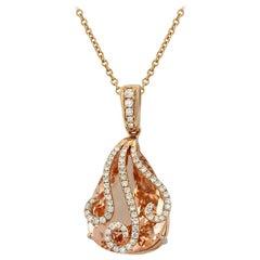 Yael Designs Morganite Diamond and Rose Gold Pendant