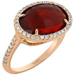 Yael Designs Rose Cut Fire Opal and Diamond Rose Gold Ring