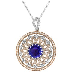 Yael Designs Tanzanite Diamond White and Rose Gold Pendant
