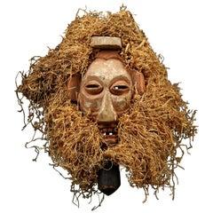 Yaka Tribal Initiation Mask with Raffia, Congo 'DRC', mid 20th Century, Africa