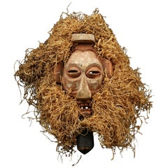 Yaka Tribal Initiation Mask with Raffia, Congo 'DRC' Early 20th Century