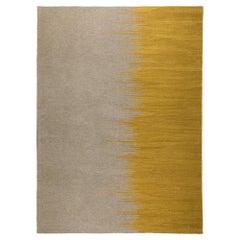Yakamoz No 2 Contemporary Modern Kilim Rug, Wool Handwoven Mustard-Earthy Gray