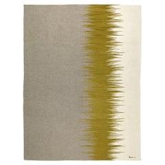 Yakamoz No 3 Contemporary Modern Kilim Rug, Wool Handwoven Earthy Gray & Mustard