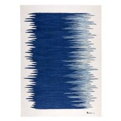 Yakamoz No 4 Contemporary Modern Kilim Rug, Wool Handwoven Blue & Dune White