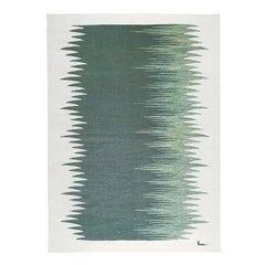 Yakamoz No 4 Contemporary Modern Kilim Rug, Wool Handwoven Green & Dune White