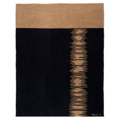 Yakamoz No 6 Contemporary Kilim Rug, Wool Handwoven Midnight & Harvest Yellow