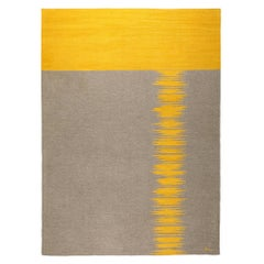 Yakamoz No 6 Contemporary Modern Kilim Rug, Wool Handwoven Earthy Gray & Yellow