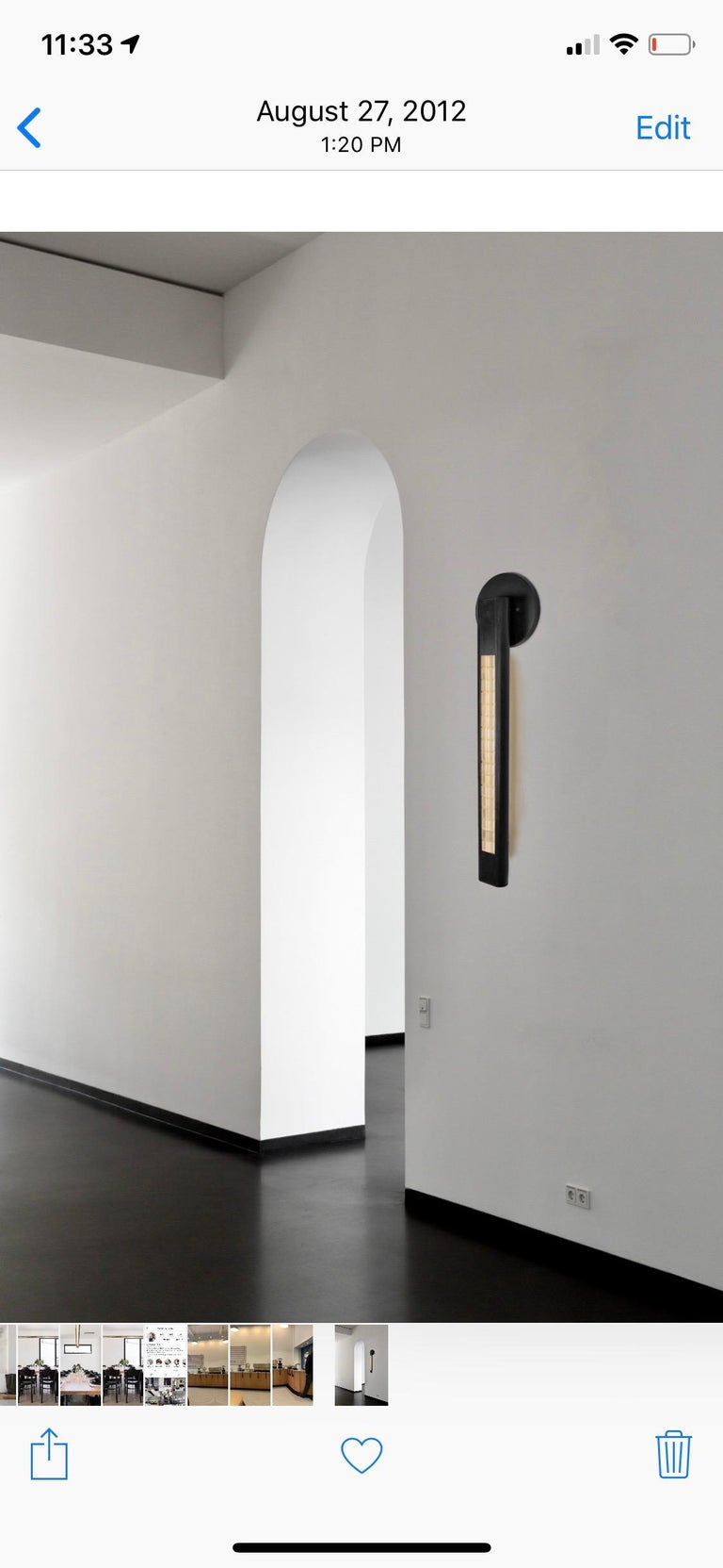 Blackened Yakata Modern Wall Sconce Black Brass  For Sale