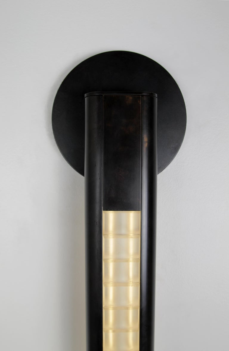 Art Deco Yakata Modern Wall Sconce Black Brass  For Sale