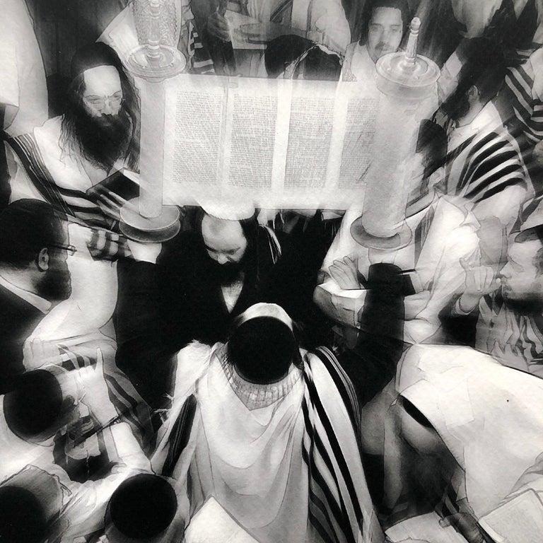 Israeli Jewish Prayer Tallit Photogram Op Art Kabbala Photograph Judaica Photo For Sale 4