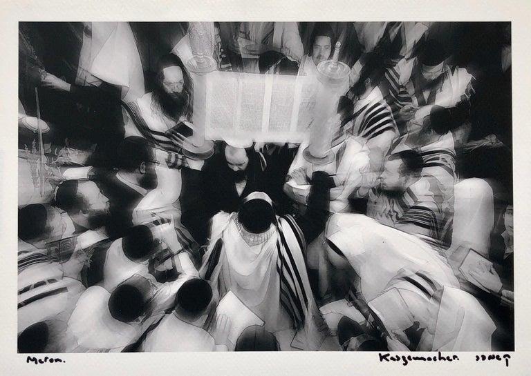 Yakov Kaszemacher Black and White Photograph - Israeli Jewish Prayer Tallit Photogram Op Art Kabbala Photograph Judaica Photo