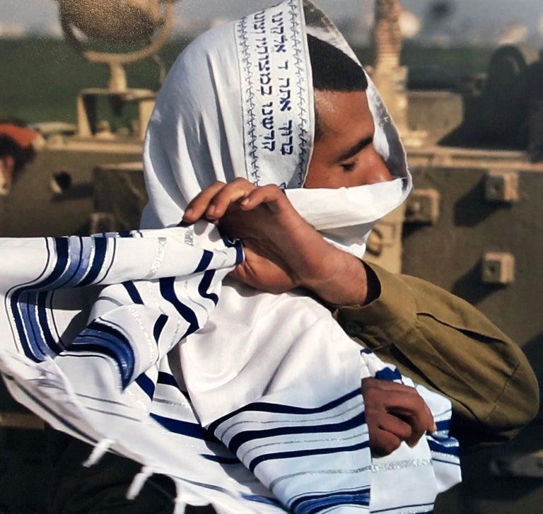 Israeli Soldier Praying Tallit Photogram Op Art Kabbala Photograph Judaica Photo - Black Color Photograph by Yakov Kaszemacher