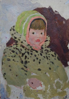 """Little girl""  Oil cm. 20 x 28 ,Child,Winter,Russian,Impressionism, 1960,Baby"
