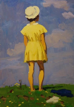 """Little girl with yellow dress""  oil cm. 32 x 50  1968"