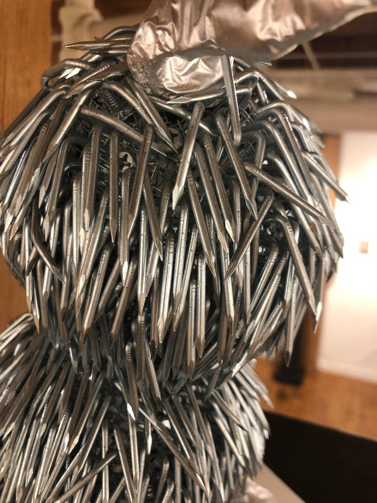 Yaku, Owl Like Sculpture Created from Galvanized Construction Nails 4