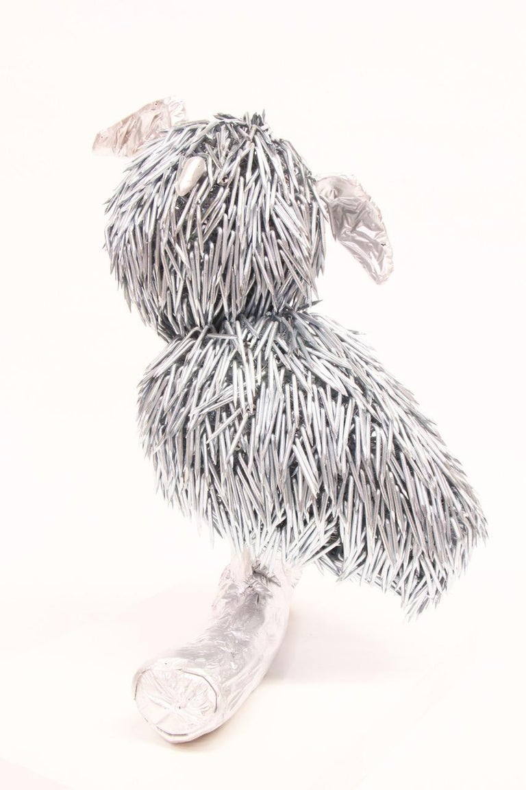 Modern Yaku, Owl Like Sculpture Created from Galvanized Construction Nails