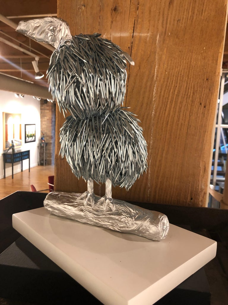 Yaku, Owl Like Sculpture Created from Galvanized Construction Nails 2
