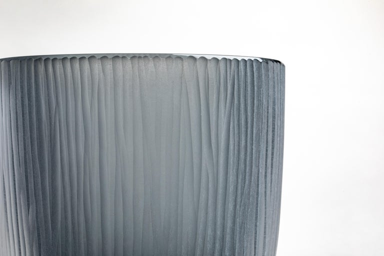 Italian Yali Murano Hand Blown and Engraved Large Kasa Container Grey For Sale
