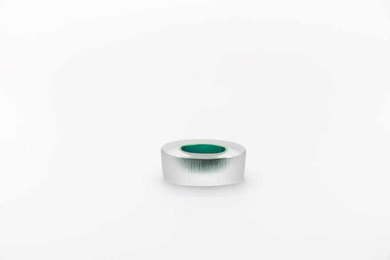 Italian Yali Murano Hand Blown and Engraved Mignon Green For Sale