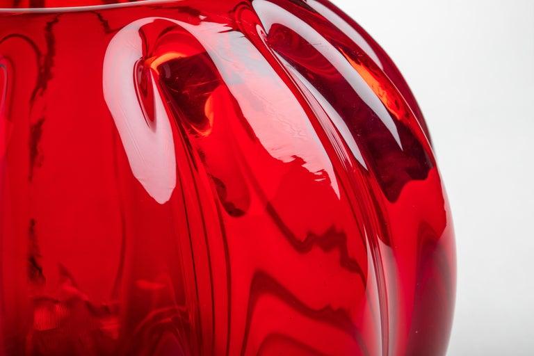 Italian Yali Murano Hand Blown Fiori Bolla Vase Large Red For Sale