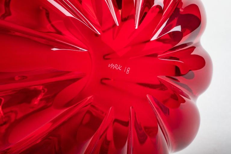 Yali Murano Hand Blown Fiori Bolla Vase Large Red In New Condition For Sale In Venezia, IT