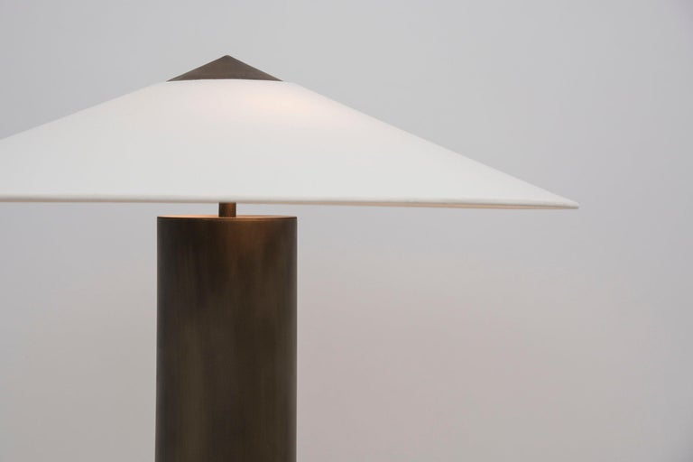 Modern Yama Table Lamp, Large in Brass with Aged Patina and Linen Shade For Sale