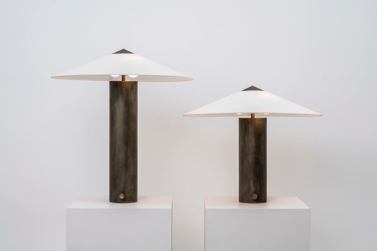 American Yama Table Lamp, Large in Brass with Aged Patina and Linen Shade For Sale