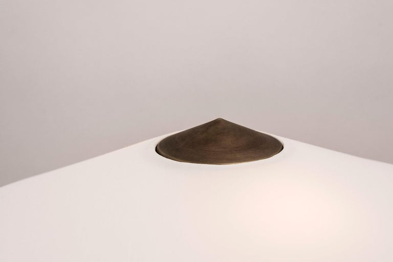 Hand-Crafted Yama Table Lamp, Large in Brass with Aged Patina and Linen Shade For Sale