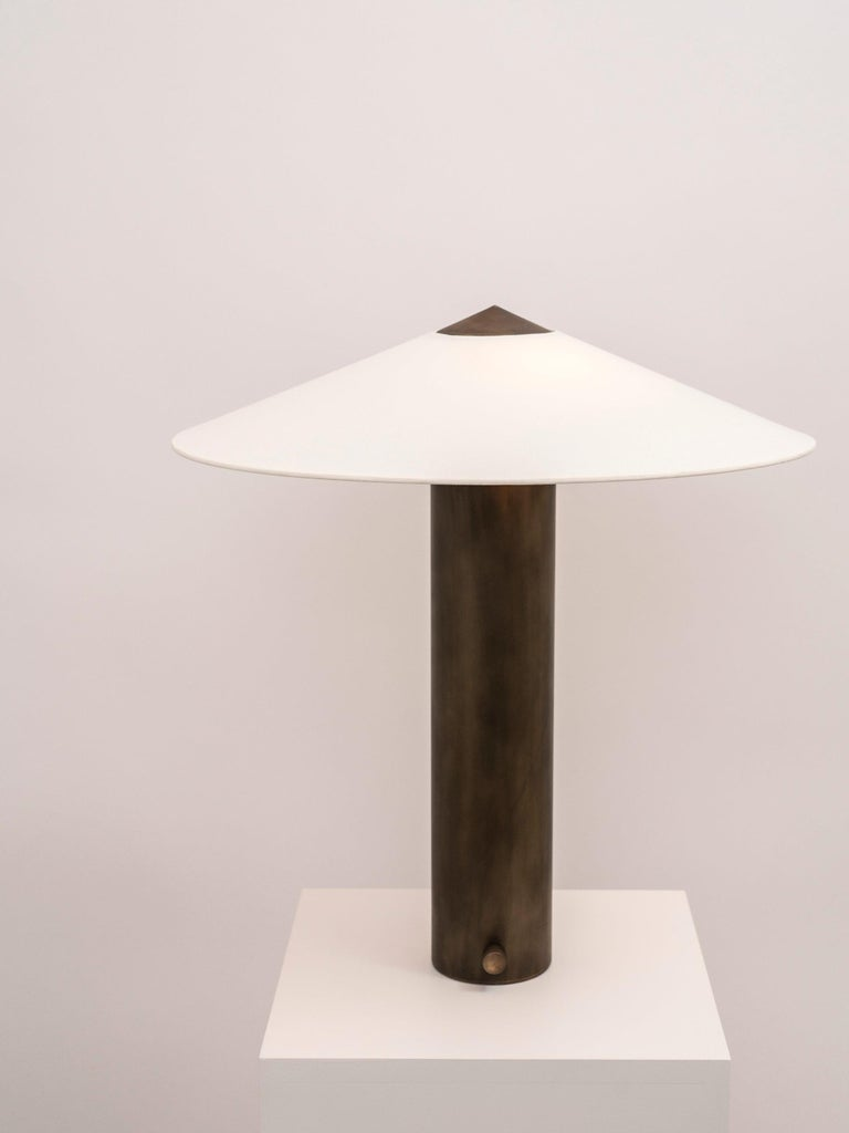 Yama Table Lamp, Large in Brass with Aged Patina and Linen Shade For Sale 1