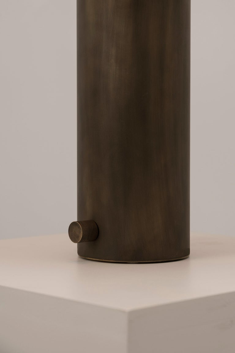 Yama Table Lamp, Large in Brass with Aged Patina and Linen Shade For Sale 2