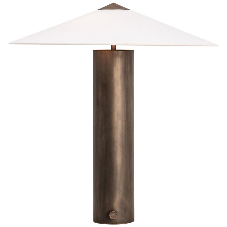Yama Table Lamp, Large in Brass with Aged Patina and Linen Shade For Sale