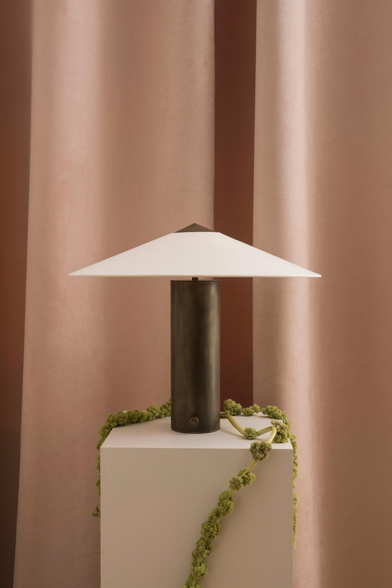 Modern Yama Table Lamp, Small in Brass with Aged Patina and Linen Shade For Sale