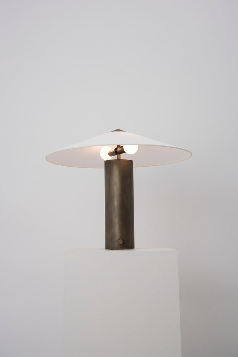 Hand-Crafted Yama Table Lamp, Small in Brass with Aged Patina and Linen Shade For Sale