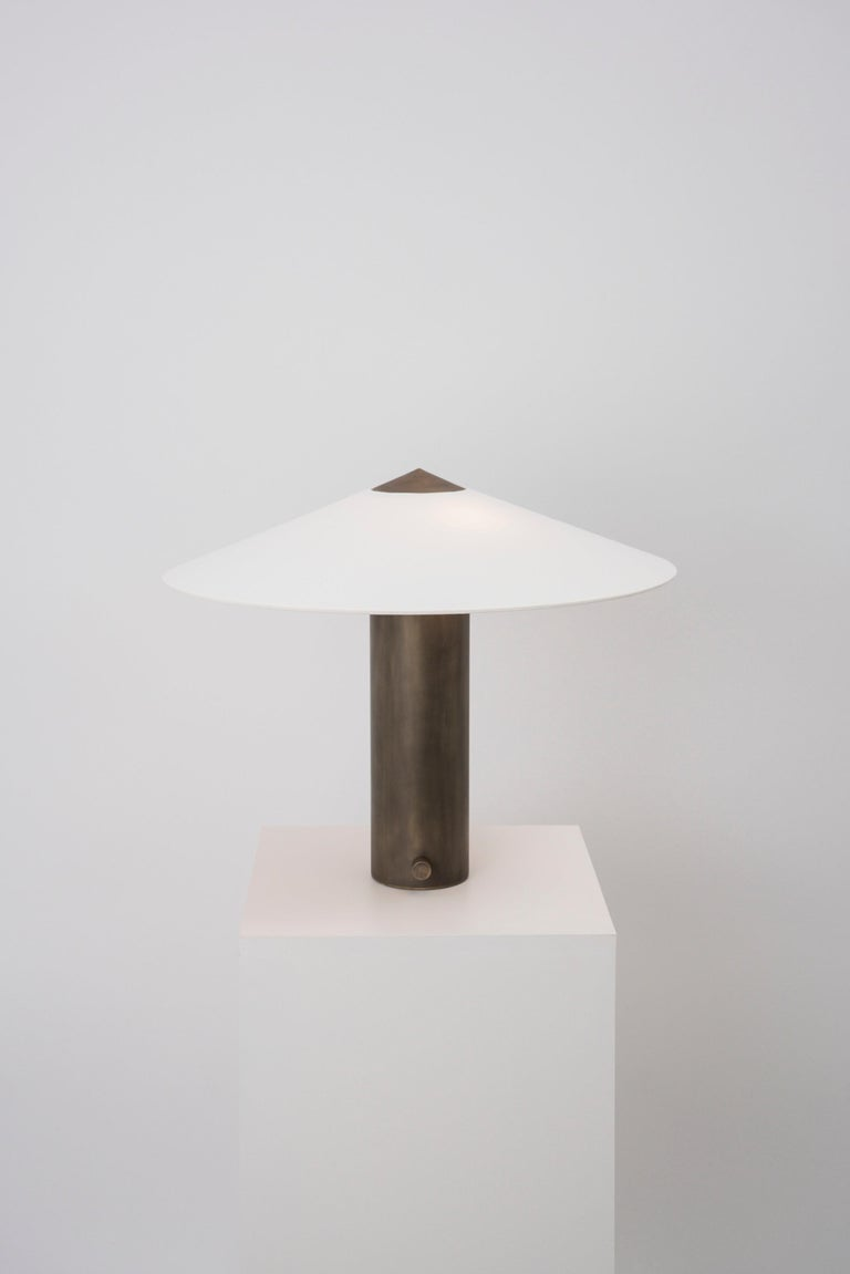 Yama Table Lamp, Small in Brass with Aged Patina and Linen Shade In New Condition For Sale In Brooklyn, NY