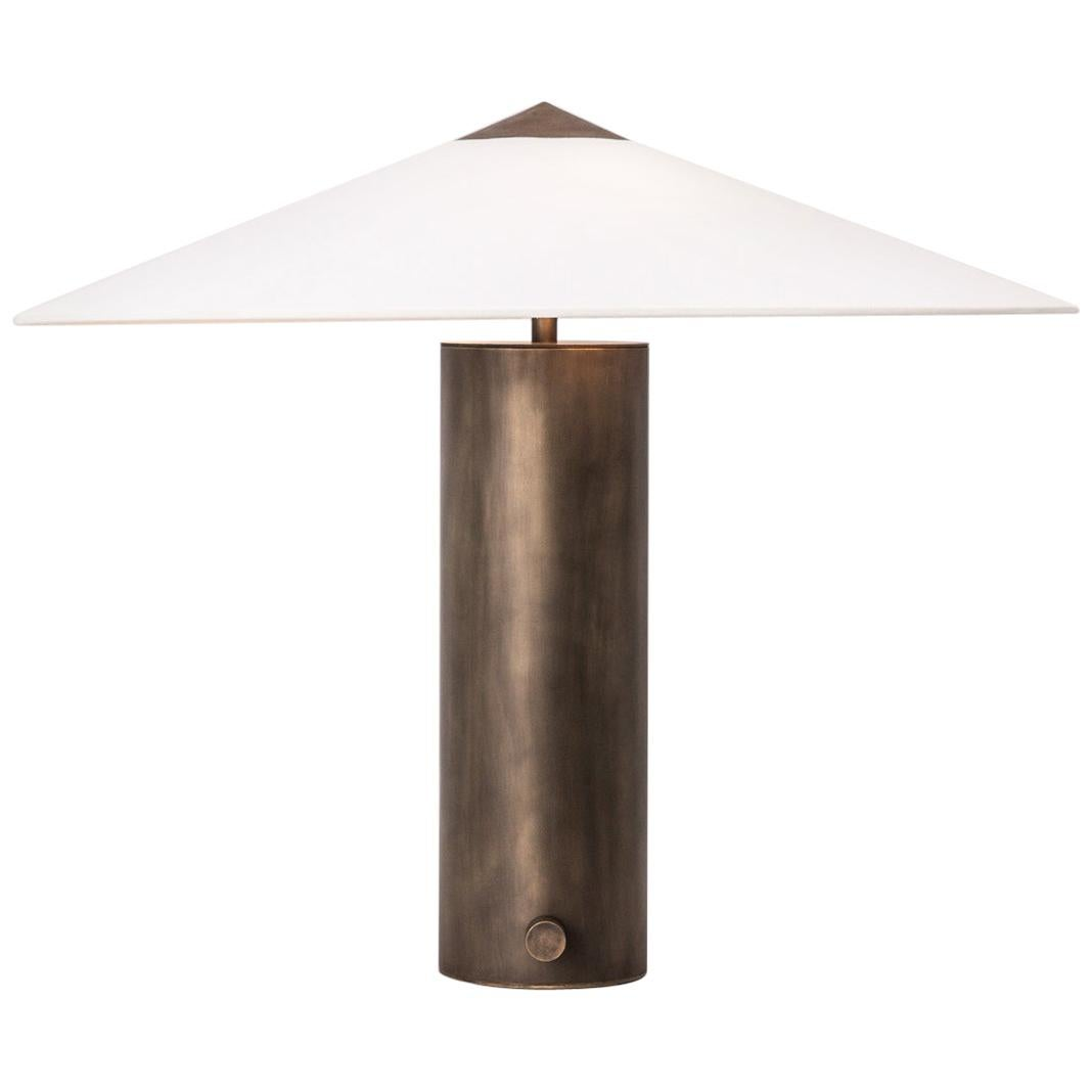 Yama Table Lamp, Small in Brass with Aged Patina and Linen Shade