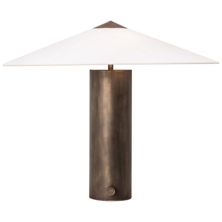 Yama Table Lamp, Small in Brass with Aged Patina and Linen Shade For Sale
