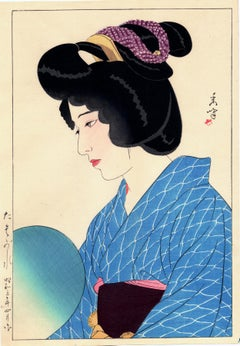 "Thoughtful Japanese Beauty in Blue Kimono: ""Twilight"""