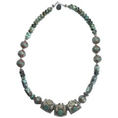 Yamanda Antique Turquoise Moroccan Silver Necklace