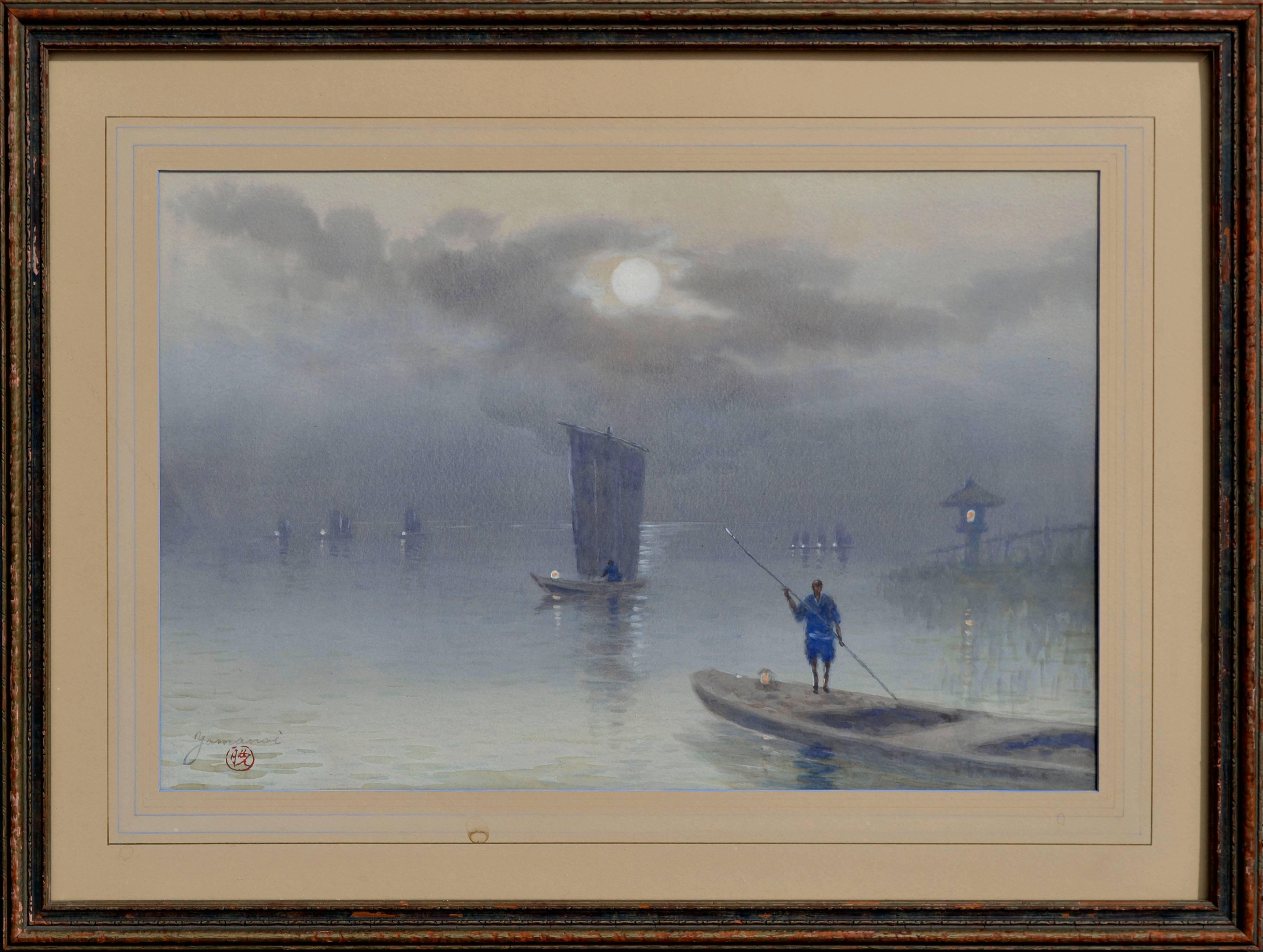 Fishing at Dawn - Figurative Landscape