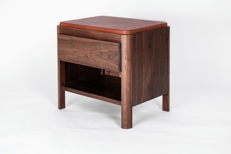 American Yan Nightstand in Solid Wood and Cognac Leather by Bowen Liu For Sale
