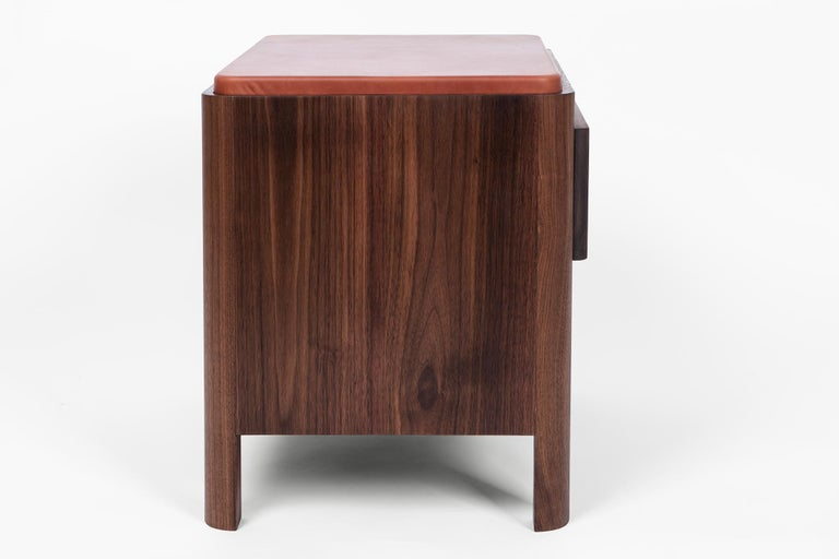 Yan Nightstand in Solid Wood and Cognac Leather by Bowen Liu In New Condition For Sale In Brooklyn, NY