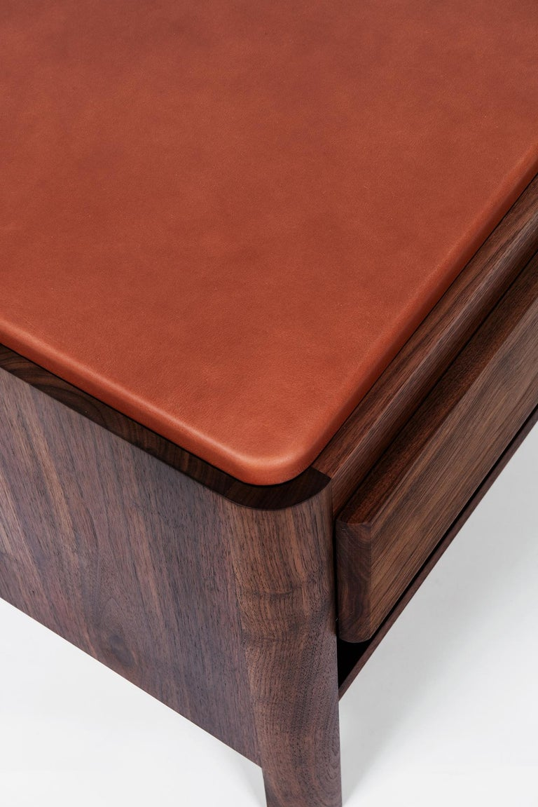 Contemporary Yan Nightstand in Solid Wood and Cognac Leather by Bowen Liu For Sale