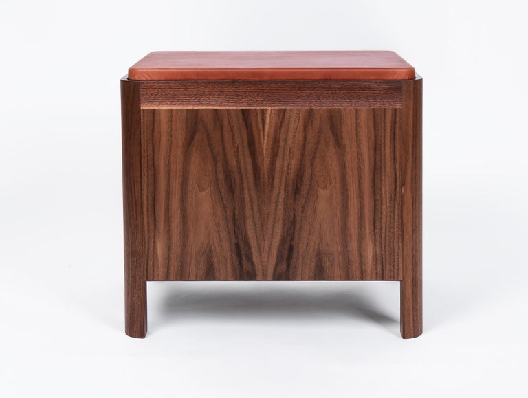Walnut Yan Nightstand in Solid Wood and Cognac Leather by Bowen Liu For Sale