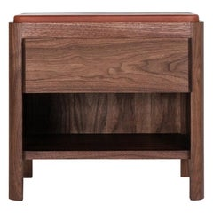 Yan Nightstand in Solid Wood and Cognac Leather by Bowen Liu