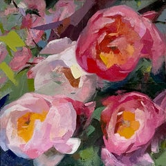 """""""Four Peonies"""", Oil painting"""