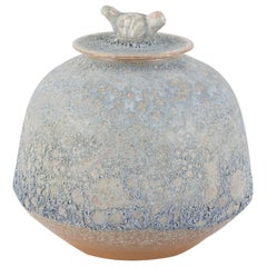 Yang Pot with Lid M Handcrafted Porcelain Hand Painted Reactive Finish Blue