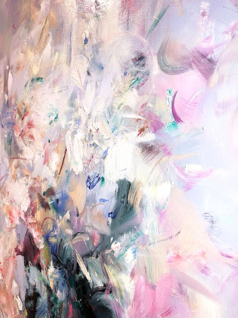 'Abstract Portrait' 2018 by Chinese/Canadian artist Yangyang Pan. Oil on canvas, 48 x 48 in. This beautiful abstract-impressionistic garden landscape painting incorporates large gestural brush strokes in rich colors of varying blues, white, green,