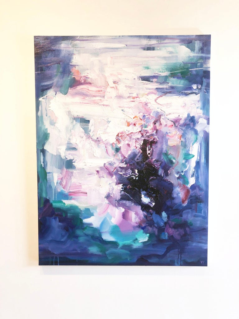 Abstract expressionist oil painting, Yangyang Pan, Echoes - Painting by YangYang Pan