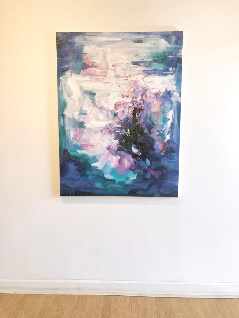 Abstract expressionist oil painting, Yangyang Pan, Echoes - Blue Landscape Painting by YangYang Pan